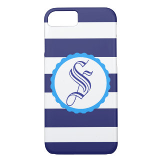 Customisable Nautical Blue Striped iPhone Case