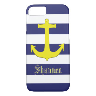 Customisable Nautical Yellow Anchor iPhone Case
