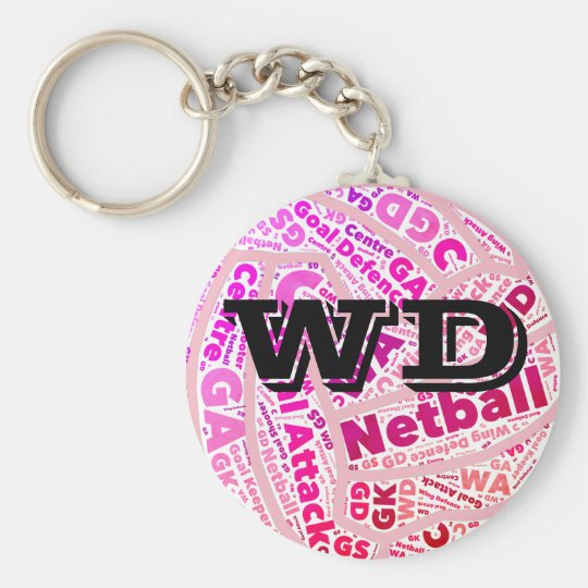 Customisable Netball Player Position Ball Design Key Ring
