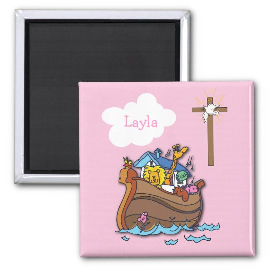 Customisable Noah's Ark Baptism, Girl Pink Magnet