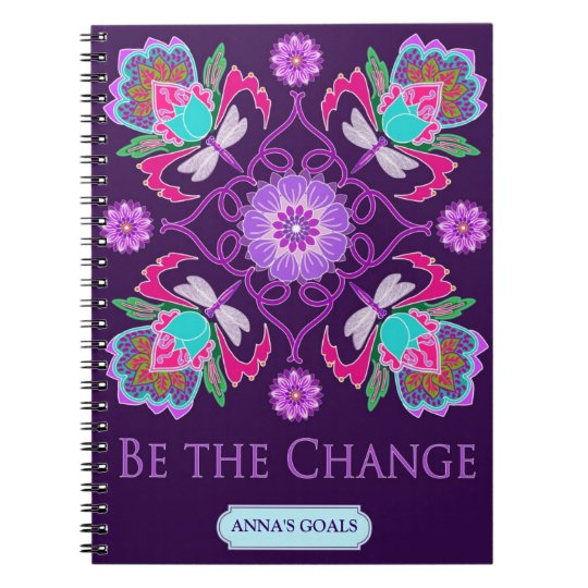 Customisable Notebook - Be The Change - Dragonfly