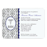 Customisable Nurse Graduation BSN RN blue damask 13 Cm X 18 Cm Invitation Card