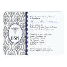 Customisable Nurse Graduation BSN RN blue damask Card