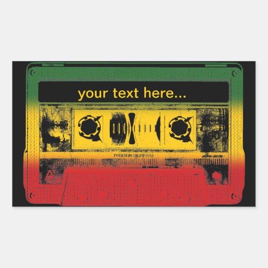 Customisable Old School Reggae Cassette Rectangular Sticker
