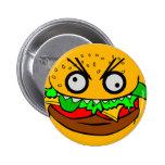 customisable om nom nom burger with teeth face pin