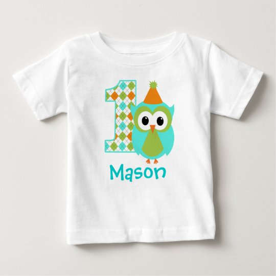 Customisable Owl Boy First birthday shirt one year