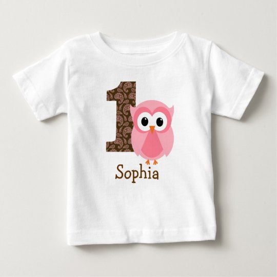 Customisable Owl First birthday shirt one year