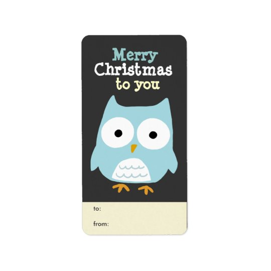 Customisable Owl Merry Christmas Tag Address Label