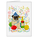 Customisable Party Pug Celebration Tees and Gifts Greeting Card