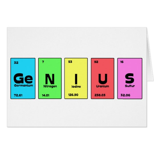 Customisable Periodic Table Genius Card