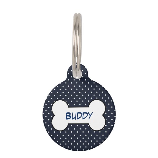 Customisable pet tag navy blue with dog bone
