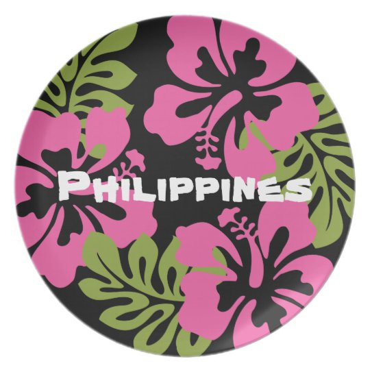 Customisable Philippines Hibiscus Tropical Flower Party Plates
