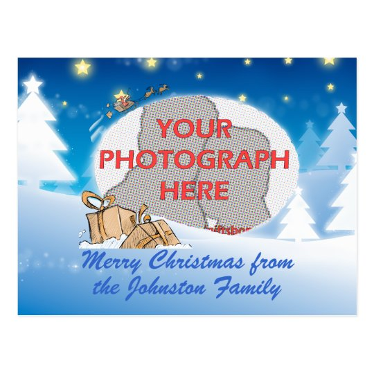 Customisable photo christmas postcard