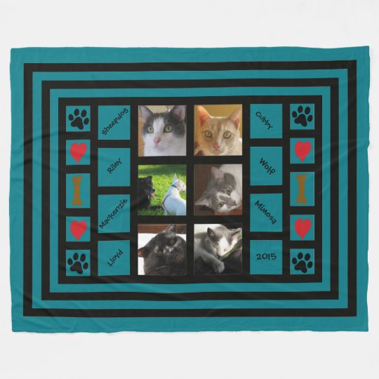 Customisable Photo Collage/Instagram Style Blue Fleece Blanket