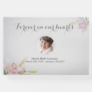 Customisable Photo Memorial Lilies Guest Book