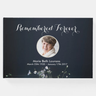 Customisable Photo Memorial White Flowers Guest Book