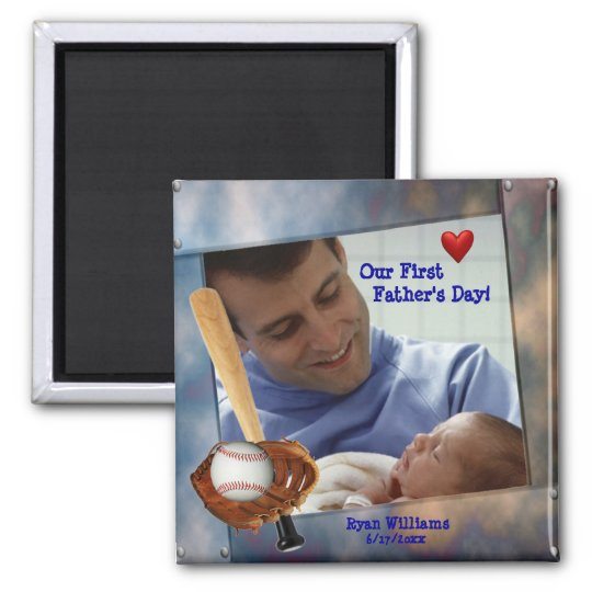 Customisable Photo Our First Fathers Day Magnet