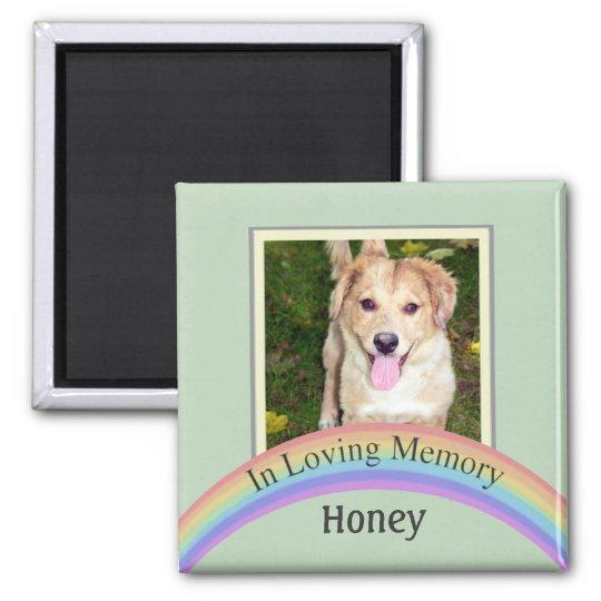 Customisable Photo Pet Memorial (Green) Square Magnet