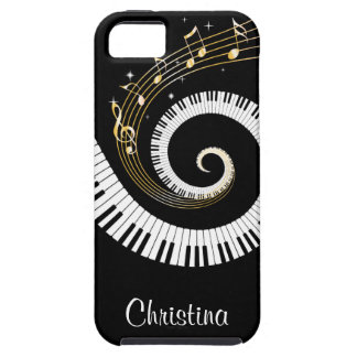 Customisable Piano Keys and Gold Music Notes iphon