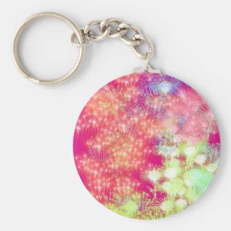 Customisable Pink Fireworks Key Ring