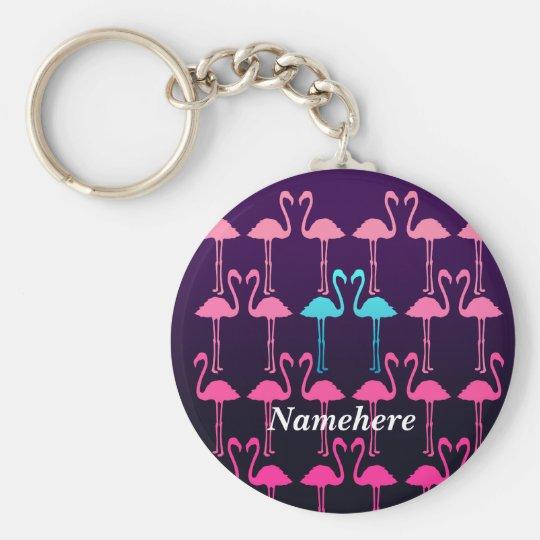 Customisable: Pink flamingo Key Ring