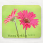 Customisable Pink Gerber Daisies on Green Mouse Pad