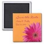 Customisable Pink Gerbera Daisy Monogram Magnet