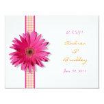 Customisable Pink Gerbera Daisy Response Card Personalised Invite
