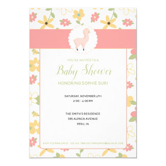 Customisable Pink Little Llama Baby Shower Invite