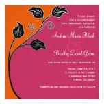 Customisable Pink & Orange Wedding Invitation