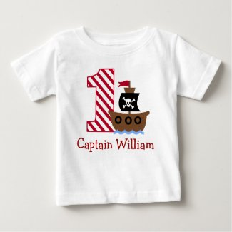 Customisable Pirate First birthday shirt one year