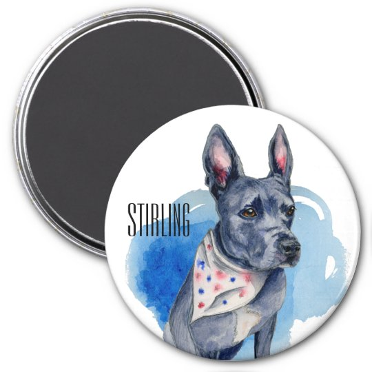 Customisable Pit Bull Dog Blue Watercolor 7.5 Cm Round Magnet