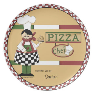 Customisable Pizza Chef Party Plate