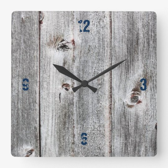 Customisable Plank Wood Paper Square Wall Clock