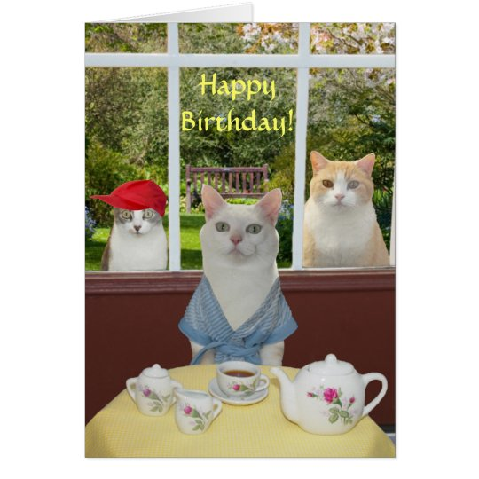 Customisable Pretty Cat Female Birthday Card
