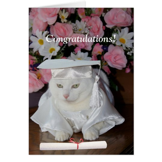 Customisable Pretty Cat Female Graduation Card
