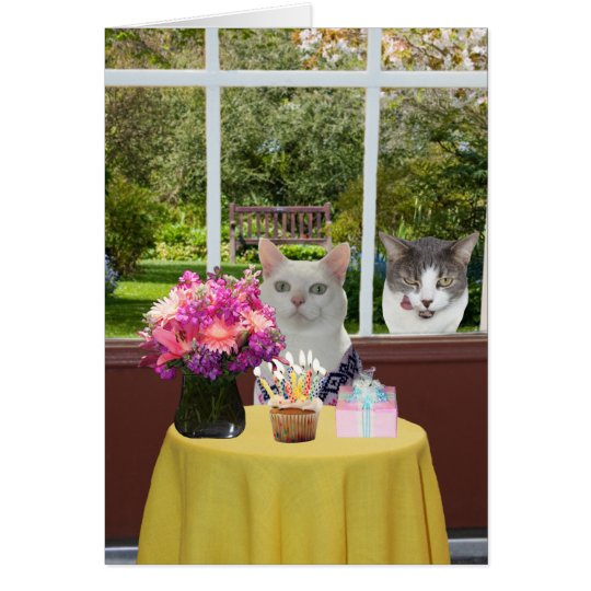 Customisable Pretty Cat Female Photobomb Birthday Card