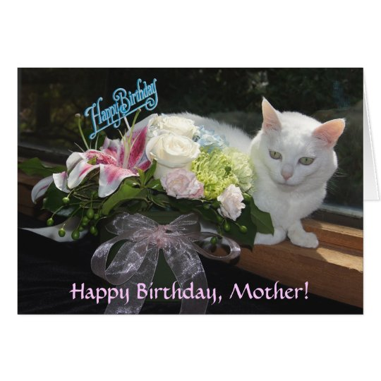 Customisable Pretty Cat/Flowers Birthday Card