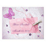 Customisable Pretty Pink Butterfly Design 11cm X 14cm Invitation Card