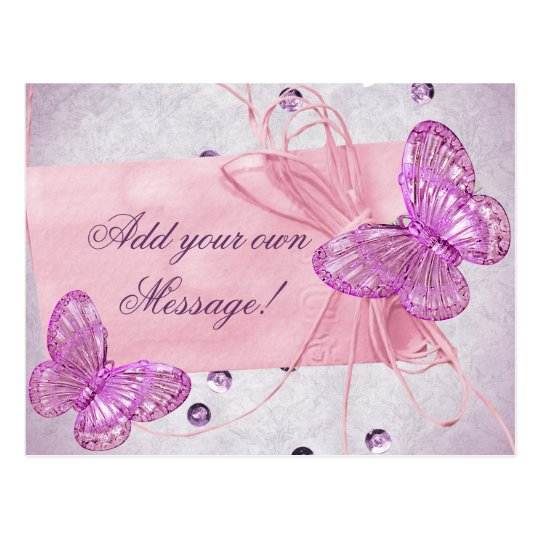 Customisable Pretty Pink Butterfly Design Postcard