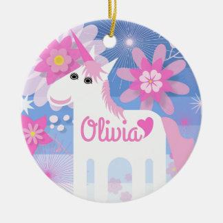 Customisable Pretty Pink Unicorn Circle Decoration