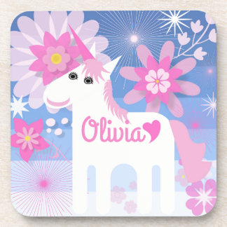 Customisable Pretty Pink Unicorn Coasters