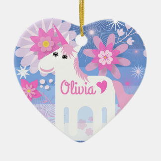 Customisable Pretty Pink Unicorn Heart Decoration