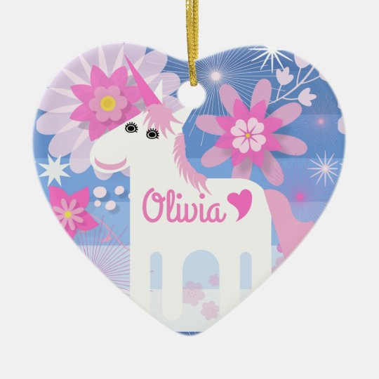 Customisable Pretty Pink Unicorn Heart Decoration