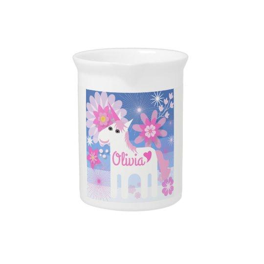 Customisable Pretty Pink Unicorn Jug/Pitcher Pitcher
