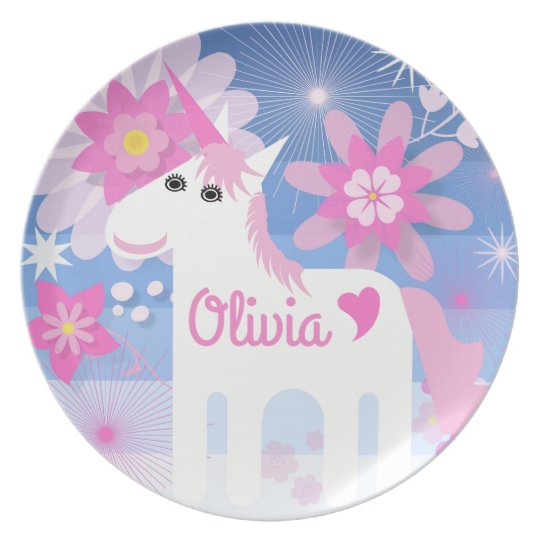 Customisable Pretty Pink Unicorn Melamine Plate