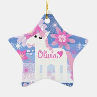 Customisable Pretty Pink Unicorn Star Decoration