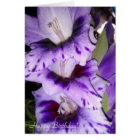 Customisable Purple Gladiolus Happy Birthday Card