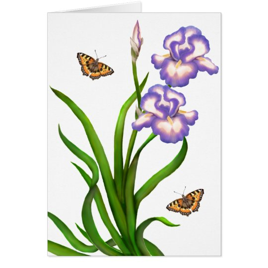 Customisable Purple Irises with Butterflies Card
