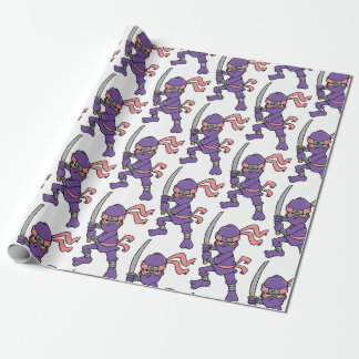 Customisable Purple Ninja Pattern Wrapping Paper